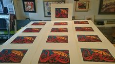 Walktopus Edition (Reductive linolium) prints by Kristina Ayala of Pufferfish Press, Pacifica, Calfiornia 2014