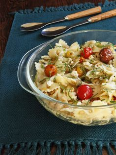 Lemon Pasta Salad with Roasted Tomatoes, Chickpeas and Feta - Mediterranean Summer Recipe by Tori Avey