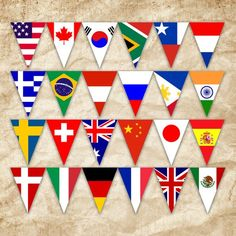 World Flags Printable Banner - Includes 100 flags in 3 sizes - Printable Banner - Printable Bunting World Flags Printable, Printable Banner, Printables, All Flags, Flags Of The World, Flag Banners, Thinking Day, Bunting, World Cup
