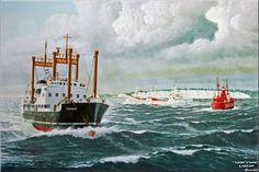Werk van Frits Hoogstrate.Theano-Mij.Zeevaart in Straat van Dover