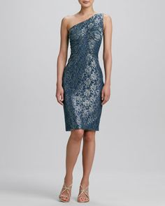Love the Fabric/Pattern of this dress. One-Shoulder Brocade Cocktail Dress by David Meister at Neiman Marcus.
