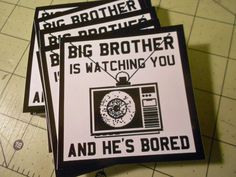 Vinyl Sticker  Big Brother Is Watching You And by GodBlessGenerica