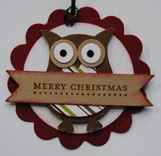 Stampin Up Owl Builder Punch Christmas Card For Teacher, Christmas Owls, Christmas Gift Tags, Handmade Christmas, Christmas Stuff, Owl Crafts, Christmas Crafts, Owl Punch Cards, Owl Card