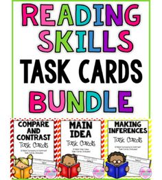 SAVE MONEY with this Task Card Bundle!3 of my popular Task Card Sets BUNDLED together!Main Idea Task Cards (Non Fic)Making Inference Task CardsCompare and Contrast Task Cards30 Task Cards Total!Click here for Compare and Contrast Task Cards by Elementary at HEARTClick here for Main Idea Task Cards by Elementary at HEARTClick here for Making Inferences Task Cards by Elementary at HEARTCustomer Tips:How to get TPT credit to use on future purchases: Please go to your My Purchases page.