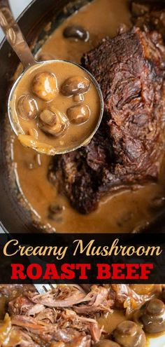 May Creamy Mushroom Beef Chuck Roast Recipe! Take a tough chuck roast, slow cook it on low for hours and turn it into a buttery soft roast with a creamy mushroom onion gravy - ALL in one roaster! Beef Steak Recipes, Beef Recipes For Dinner, Recipes With Beef Chuck Roast, Slow Cook Beef Recipes, Game Recipes, Recipe For Chuck Tender Roast, Supper Recipes, Best Chuck Roast Recipe, Gastronomia