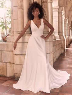 Sleek and chic, this gown is perfect for the modern bride. Clean lines and beautiful crepe make this gown complete. Crepe Wedding Dress, Maggie Sottero Wedding Dresses, Colored Wedding Dresses, Bridal Dresses, Wedding Gowns, Bridesmaid Dresses, Bridal Gown, Prom Dresses, Halle