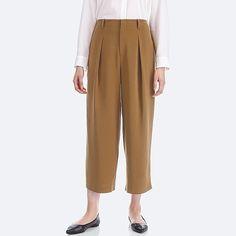 WOMEN DRAPE WIDE-LEG ANKLE-LENGTH PANTS, BROWN