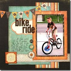 MME tamara jensen - love this line! I'd like to scraplift this one for a photo of my son on his scooter! Love the pennant banner and the focus on the action photo! 12x12 Scrapbook, Scrapbook Sketches, Scrapbook Page Layouts, Scrapbook Paper Crafts, Scrapbooking Ideas, Book Layouts, Picture Layouts, This Is Your Life, Creation Deco