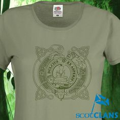 A design unique to us, we have combined a Celtic Lion and a Clan Crest on this Olive t-shirt with shaped side seams for a feminine fit. This comes in any of our Clan Crests and is available from XS to XXL.. Free worldwide shipping available.