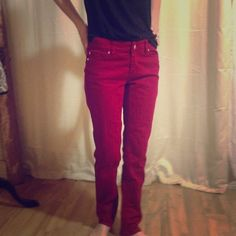 WHBM cranberry pants ⭐️final price❗️ Deep red color. Made to last. Feel beautiful. Slim leg White House Black Market Pants