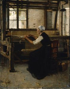 Walter Gay (American painter) 1856 - 1937, The Weaver, 1866, oil on panel, 151.5 × 117.2 cm. (59.6 × 46.1 in.), Museum of Fine Arts, Boston, United States of America