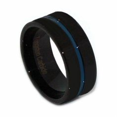 Thin Blue Line Tungsten Ring 9MM Flat Thin Profile – ThinRedBlueLine
