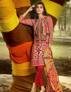 Khaadi Red Pakistani Cotton Lawn Suit With  Dupatta A15571B