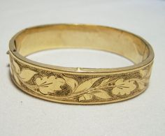 Art Deco Gold Filled Hinged Oval Bangle by GretelsTreasures