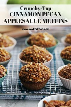 Check out these easy and delicious spiced applesauce muffins with crunchy pecan brown sugar topping. Made with no butter or eggs! No electric mixer required and ready in under 35 minutes too. Muffin Recipes, Apple Recipes, Brunch Recipes, Baking Recipes, Breakfast Recipes, Dessert Recipes, Breakfast Snacks, Scone Recipes, Dessert Bread