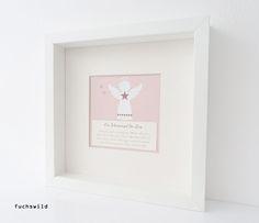 Geschenke zur Geburt, Geschenke zur Taufe, Schutzengel Bild, Druck Engelsform rosa 1