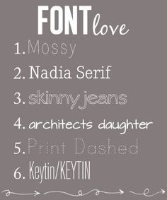 awesome fonts as spotted by @Jenny Taylor
