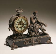 "*ANSONIA FIGURAL MANTLE CLOCK ~ with William Shakespeare; the glit metal ""Bard"" is seated next a circular enamel faced clock mounted in a classically styled drum. The ebonized metal base is applied glit feet and flourishes. Antique Watches, Antique Clocks, Vintage Clocks, Art Nouveau, Mantel Clocks, Mantle, Ansonia Clock, Cool Clocks, Time Clock"
