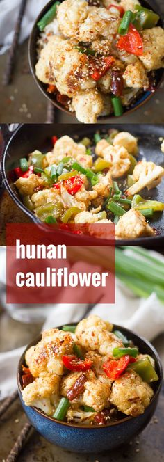 Cauliflower florets are roasted until tender and tossed in spicy sauce with chunks of bell peppers to create this healthy and flavorful Hunan cauliflower.