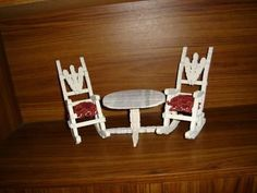 doll furniture This is a guide about making a clothes pin chair. Clothes pins can be used to make cute doll furniture. Cheap Patio Furniture, Sticks Furniture, Fairy Furniture, Diy Furniture Projects, Doll Furniture, Handmade Furniture, Dollhouse Furniture, Diy Projects, Wooden Clothespin Crafts