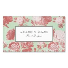 71 best business cards florist images on pinterest business cards vintage mint coral peonies floral business cards cheaphphosting Gallery