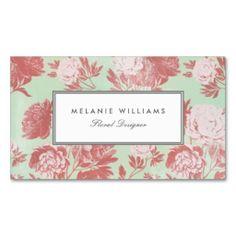 Vintage Mint Coral Peonies Floral Business Cards