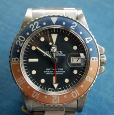 """Rolex GMT ref 1675 with a very rare """"Radial Dial"""" and beautifully faded bezel"""