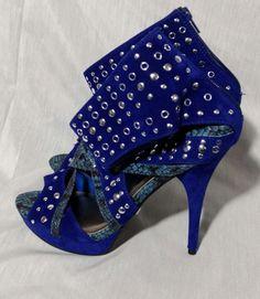 Blue Velvet Stiletto Heels Sz 7.5BM Strappy Peep Toe Platform Faux Snakeskin #Qupid #PlatformsWedges #Clubwear
