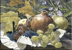 Ceramic Tile Mural - Grapes 2 - by Douglas Laird - Kitchen backsplash / Bathroom shower * Read more reviews of the product by visiting the link on the image. (This is an affiliate link) #KitchenBacksplashDIY