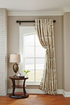 This is a perfect example of an Italian Strung drapery from Rowley Company. The drape is pulled back using a hidden cord sewn inside the drape. Drapery Panels, Drapes Curtains, Bedroom Drapes, Grommet Curtains, Valances, Drapery Designs, Drapery Ideas, Curtain Ideas, Hall Interior