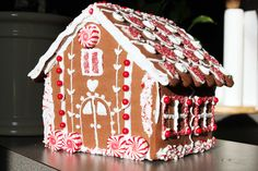 gingerbread house in red and white