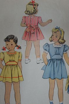 Vintage McCall 4672 LIttle Girl's Dress Size 3 by strangenotions