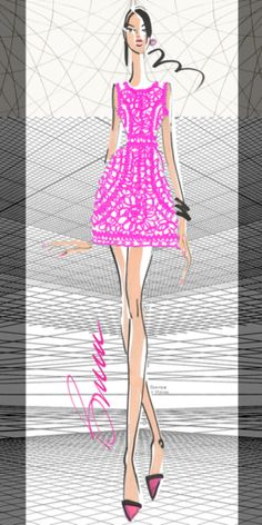 Yoana Barashi designer sketch with #Pantone Color of 2014 Radiant Orchid.