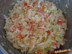 Chutný šalát z čínskej kapusty: 1 hlávka čínskej kapusty, 3 paradajky, 1 šalátová uhorka, malá konzerva sterilizovanej kukurice, 200 g tvrdého strúhaného syru NA DRESING: 5 PL tatárskej omáčky, 1 PL oleja, 1 PL horčice, 1 PL octu, podľa chuti soľ ...nakrájame zeleninu....zmiešame tatárku, horčicu, olej a ocot..... .....zamiešame do šalátiku...jemne prisolíme...a šupneme aspoň na 20 minút do chladničky No Salt Recipes, Raw Food Recipes, Easy Dinner Recipes, Low Carb Recipes, Snack Recipes, Cooking Recipes, Healthy Salads, Healthy Eating, Vegetable Salad