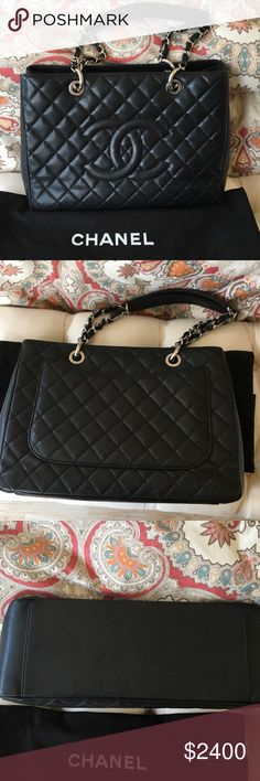 CHANEL GST TOTE Chanel GST Silver Hardware caviar black leather. In beautiful condition. Interior a black satin not the usual cotton very clean like new inside. Little bit of wear on a couple corners which you don't see unless you really look.comes with dust bag.Trades don't even ask. CHANEL Bags Totes