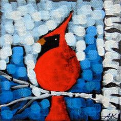 "Daily Paintworks - ""Cardinal On Ice"" - Original Fine Art for Sale - © Aaron Kloss"