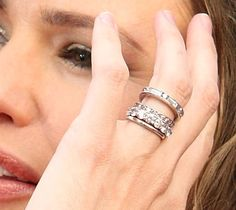 Jennifer Garner (from Ben Affleck)...I love the idea of just a stack of flush eternity bands instead of a high-set solitaire.