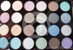 Make-up colorful eyeshadow palettes isolated on white background