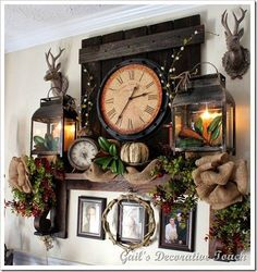 Who needs a fireplace to have a sweet mantel~ Fall touches on a mantel shelf! – Home Decor Ideas – Farmhouse Fireplace Mantels Country Decor, Rustic Decor, Farmhouse Decor, Rustic Mantel, Mantel Shelf, Fireplace Mantle, Decoration, Home Projects, Living Room Decor