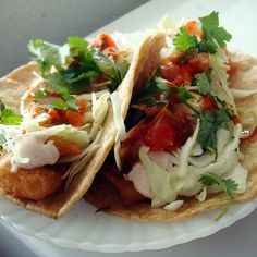 "Fish Tacos | ""Serve with homemade pico de gallo, and lime wedges to squeeze on top!"""