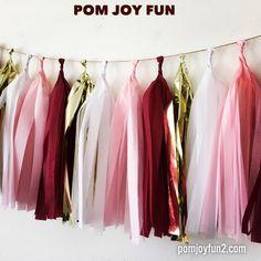 Burgundy tassel garland, Wine tassel Garland, Wine, Pink, White and Metallic gold garland, Maroon Tassels by PomJoyFun on Etsy