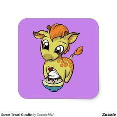 Sweet Treat! Giraffe Square Sticker