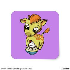 Sweet Treat! Giraffe Square Sticker