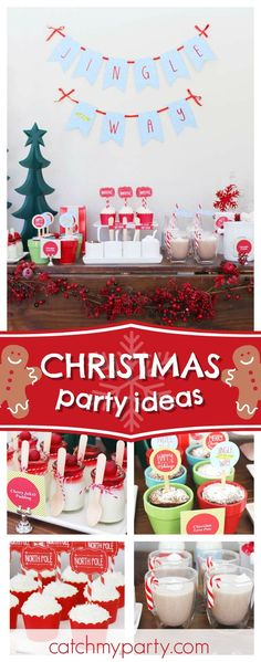 """Jingle All The Way"""" with this festive Christmas Hot Cocoa Bar! The dessert table is so cute!! See more party ideas #partyideas #christmas"""
