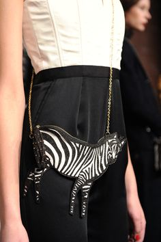 sensible zebra bag. alice and olivia.