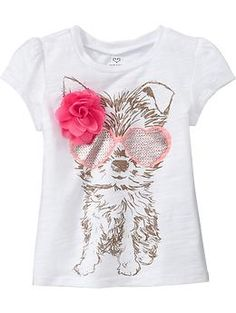 Old Navy- Floral-Applique Graphic Tee Justice Girls Clothes, Girls Clothes Shops, Girls Tees, Shirts For Girls, Baby Boy Fashion, Kids Fashion, Baby Kids Wear, Kids Nightwear, Cool Graphic Tees