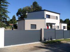 Portail aluminium plein modèle Frégate coulissant et clôtures Optimist…