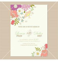 Wedding invitation card vector - by ARNICA on VectorStock®