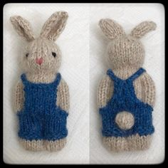 One more bunny dressed in denim overalls. (Not available for sale) . One more bunny dressed in denim overalls. (Not available for sale) . Knitting For Kids, Knitting For Beginners, Easy Knitting, Loom Knitting, Knitting Projects, Crochet Projects, Start Knitting, Knitted Doll Patterns, Knitted Dolls