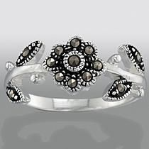 Marcasite Sterling Silver Flower Ring